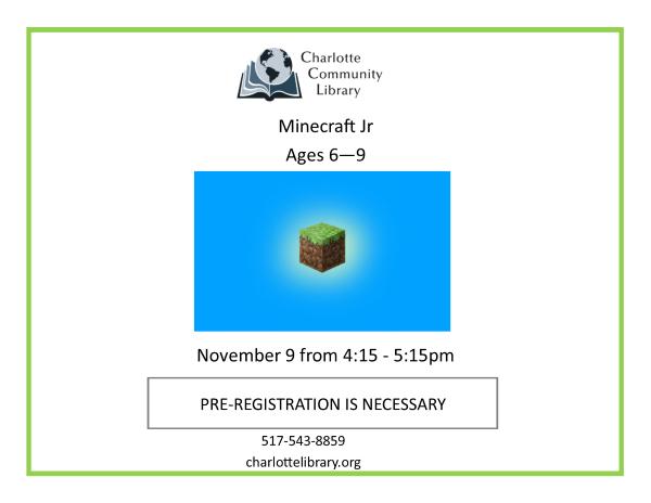 November Minecraft Jr.