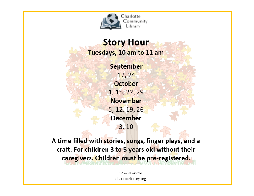 Story Hour @ Charlotte Community Library Spartan Room