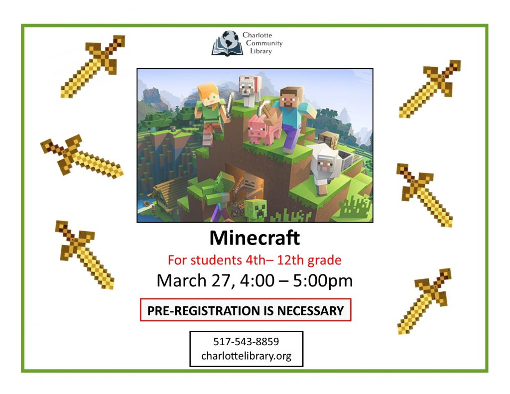 Minecraft Friday March 27 4:00 p.m.
