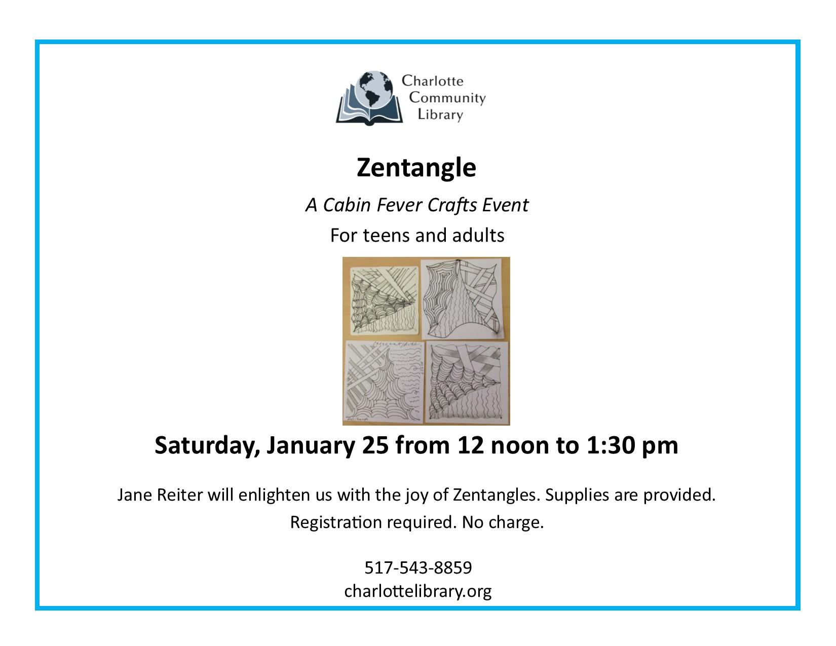 Zentangle Saturday Jan 25 12-1pm