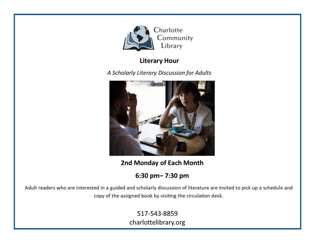 Literary Hour Monday, December 9 6:30-7:30 p.m.