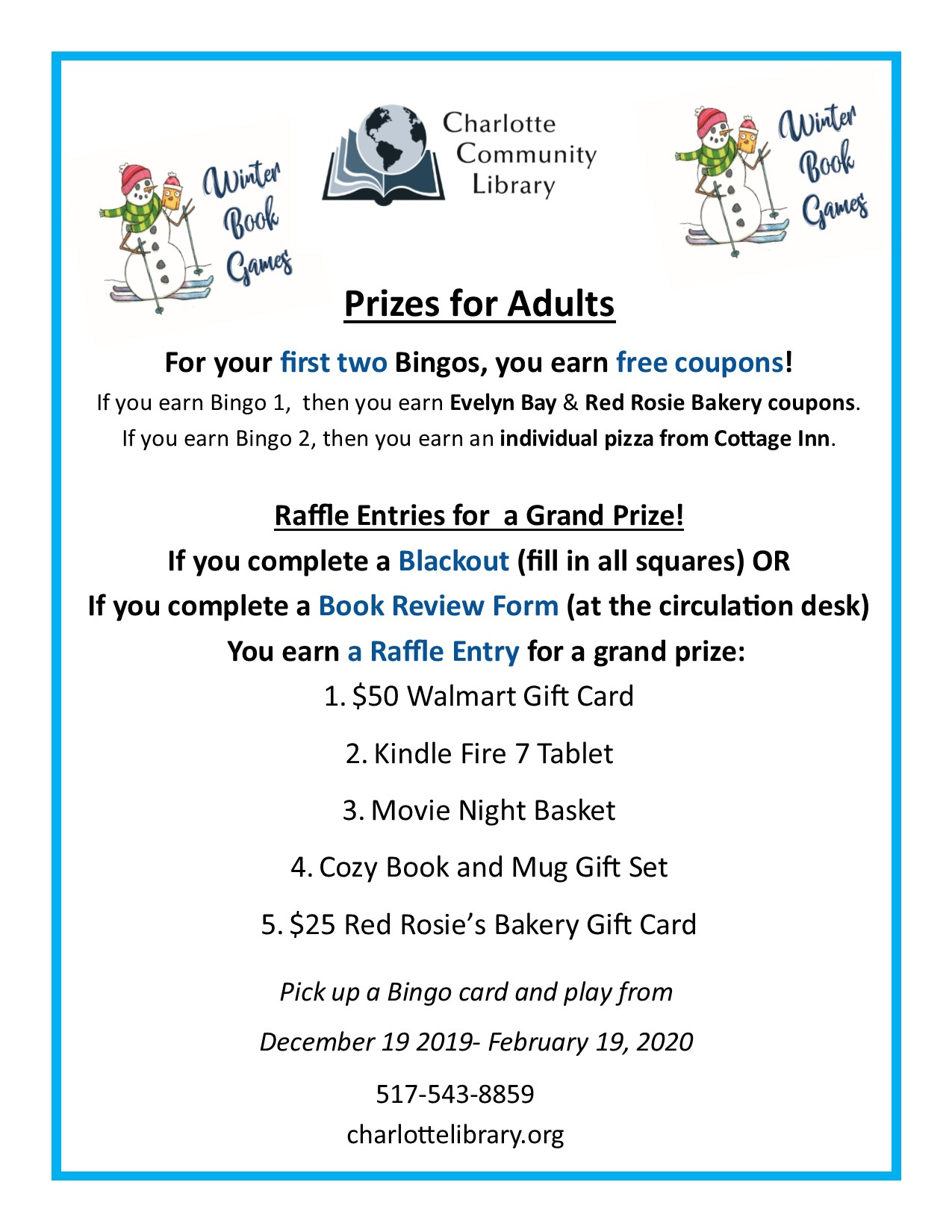 Winter Reading Program Youth Prize Flyer