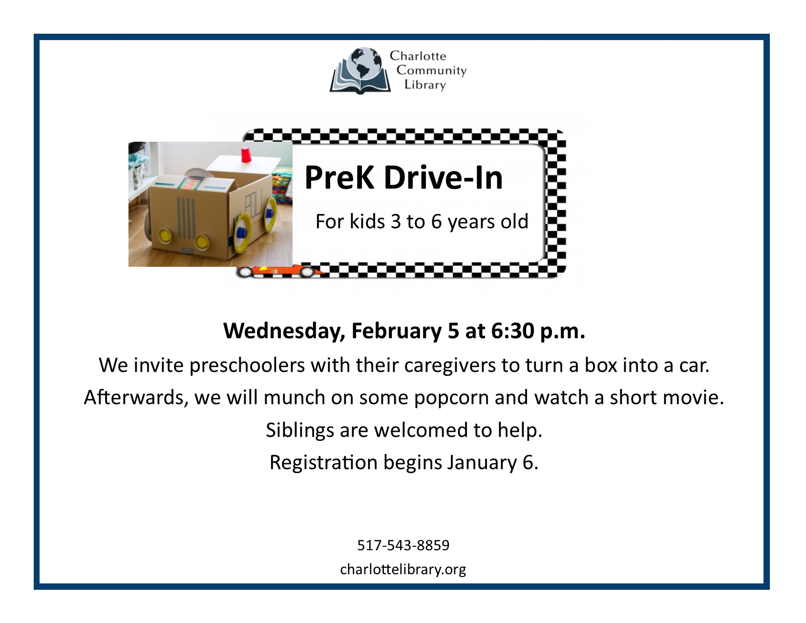 Pre-K Drive-In Wednesday Feb 5 6:30-7:30
