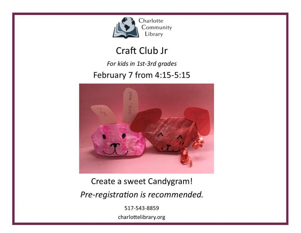 Craft Club Jr Friday Feb 7 4:15-5:15