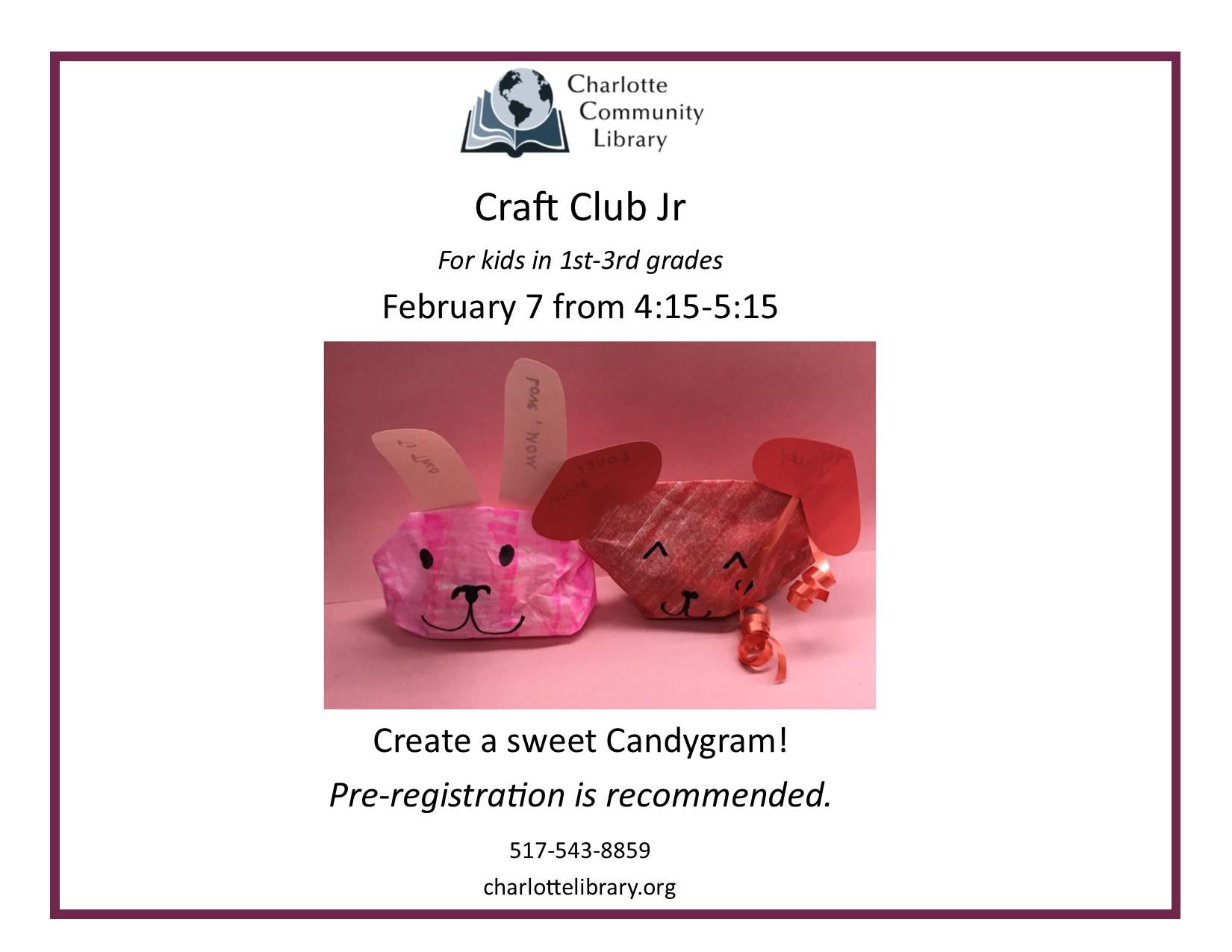Craft Club Jr Friday Feb 7 4:15-5:15