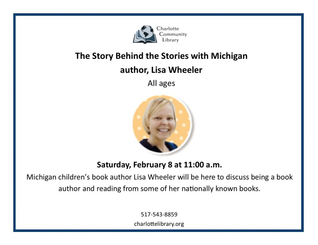 Michigan author Lisa Wheeler Saturday Feb 8 11-12