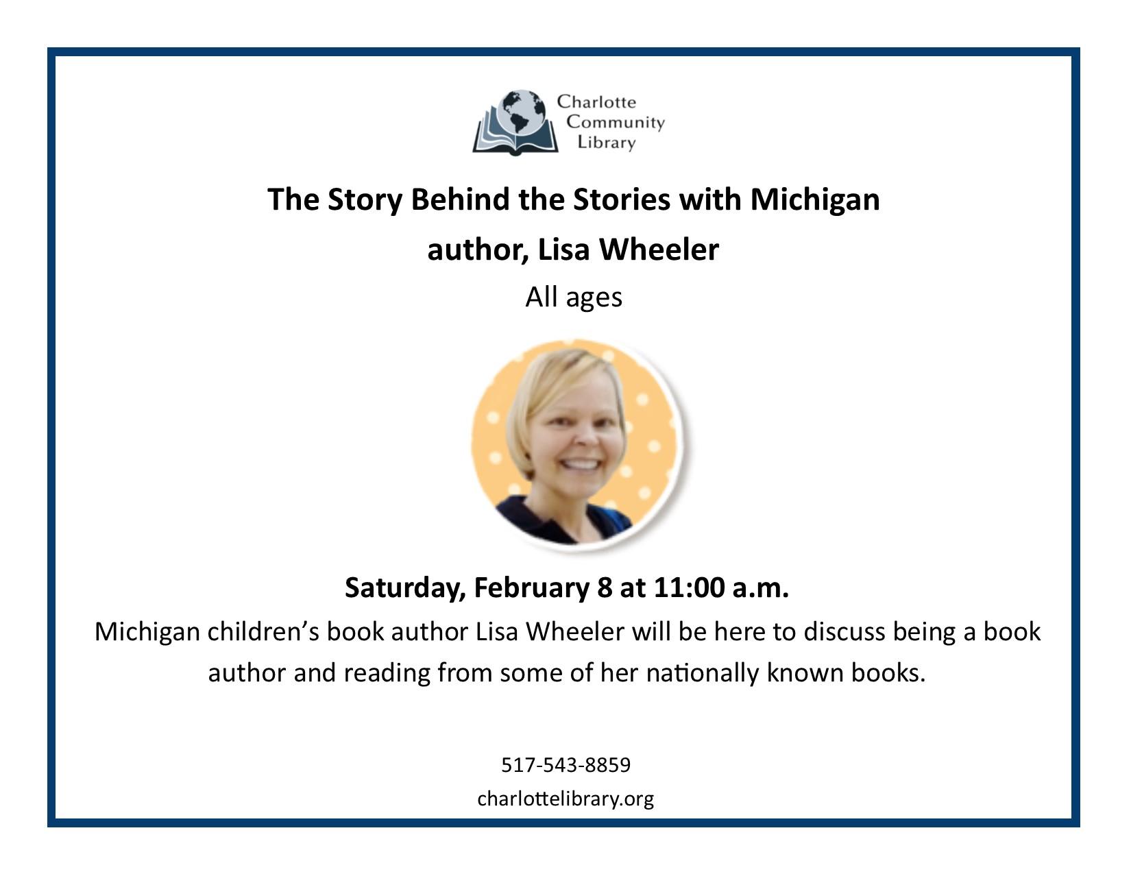 Michigan book author Lisa Wheeler Sat Feb 8 11-12