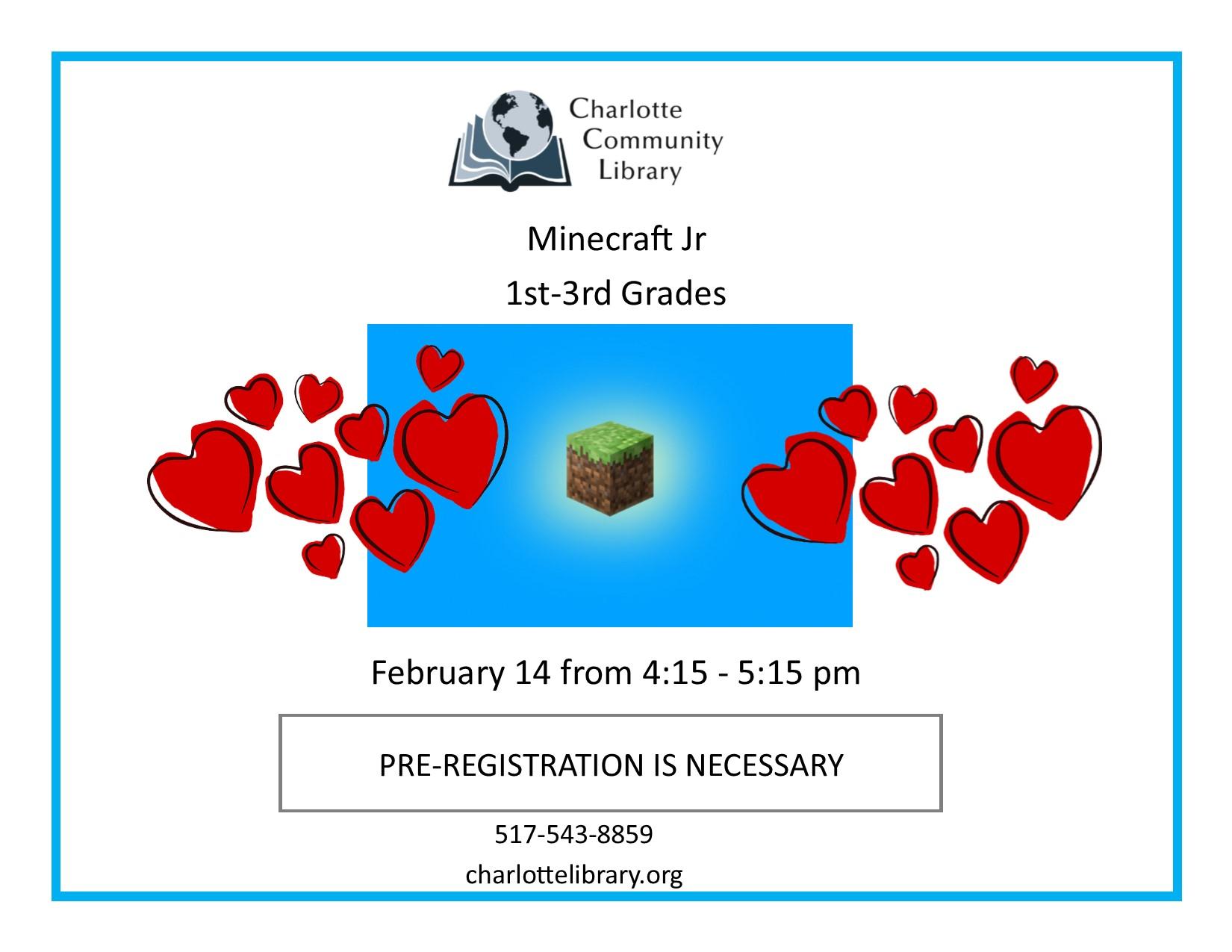 Minecraft Jr Friday Feb 14 4:15-5:15