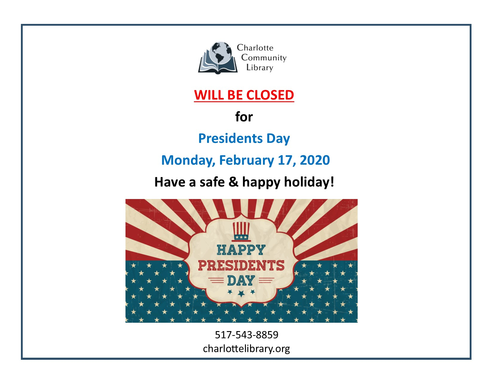 Library Closed Monday Feb 17