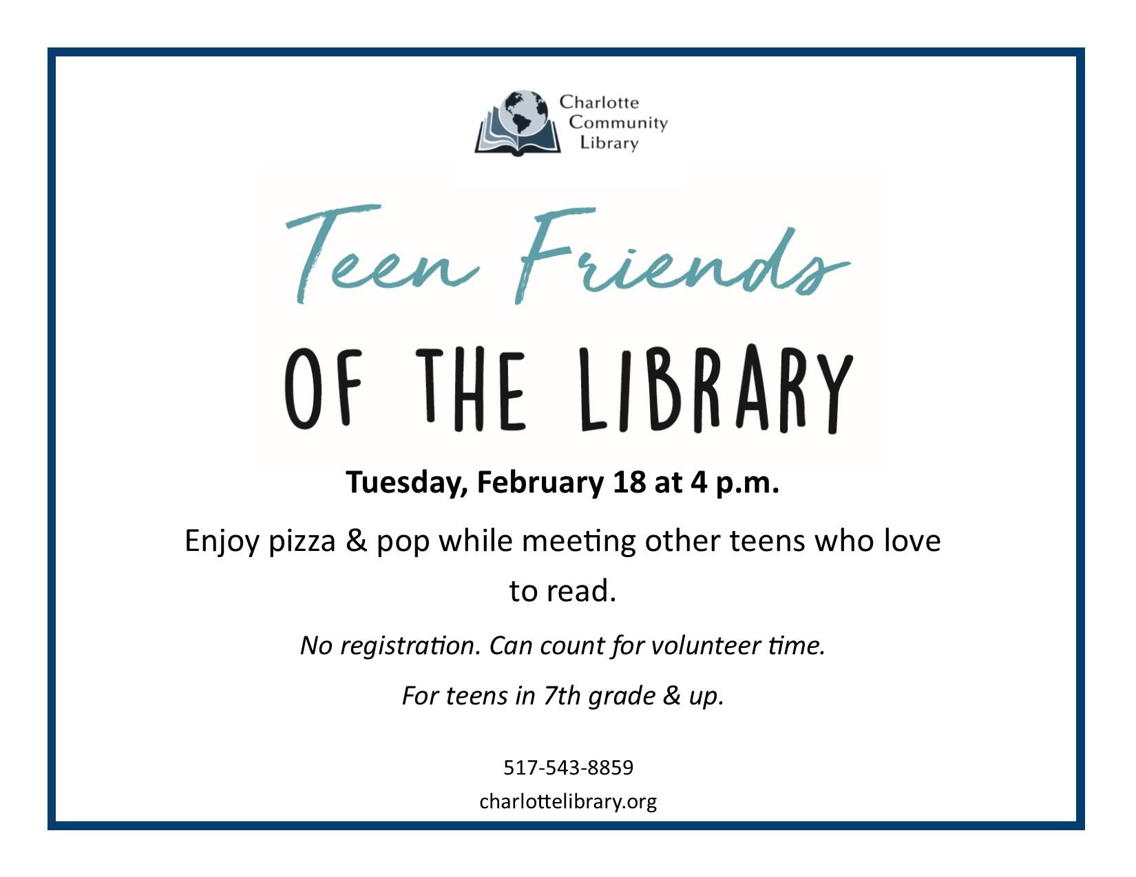 Teen Friends Tuesday Feb 18 4 pm