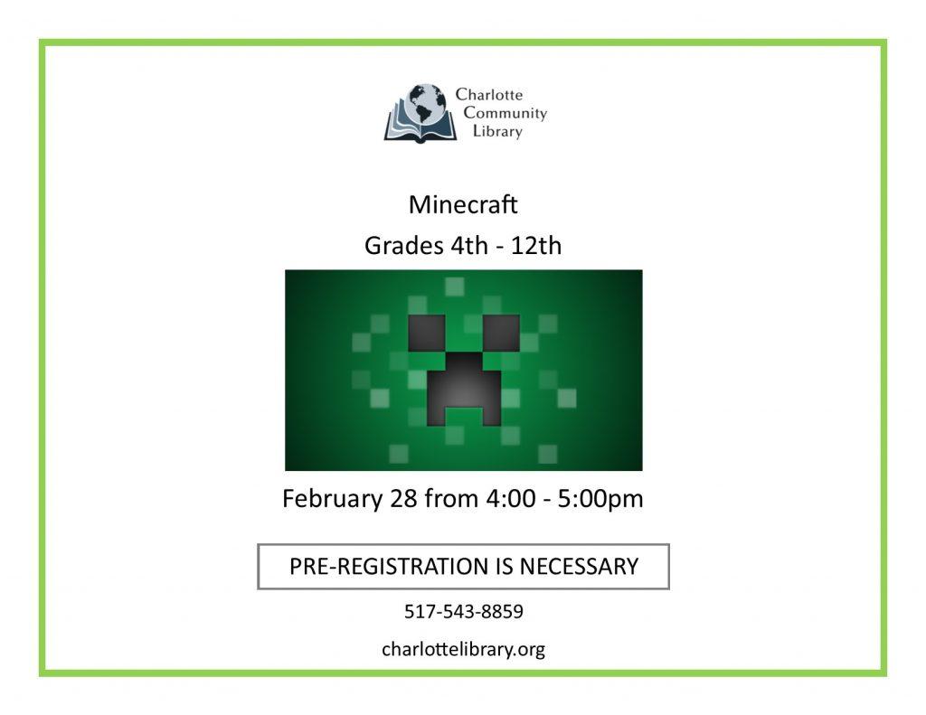 Minecraft Friday Feb 28 4-5pm
