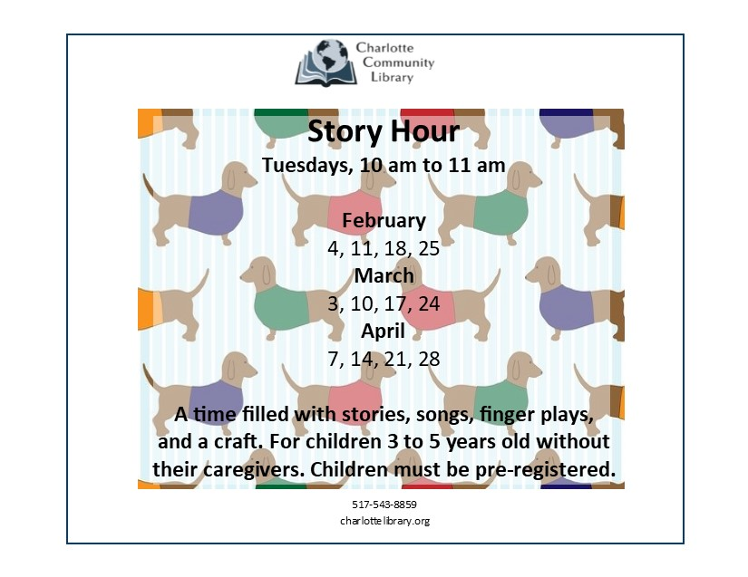 Story Hour Tuesdays 10 am Feb 4 through April 28