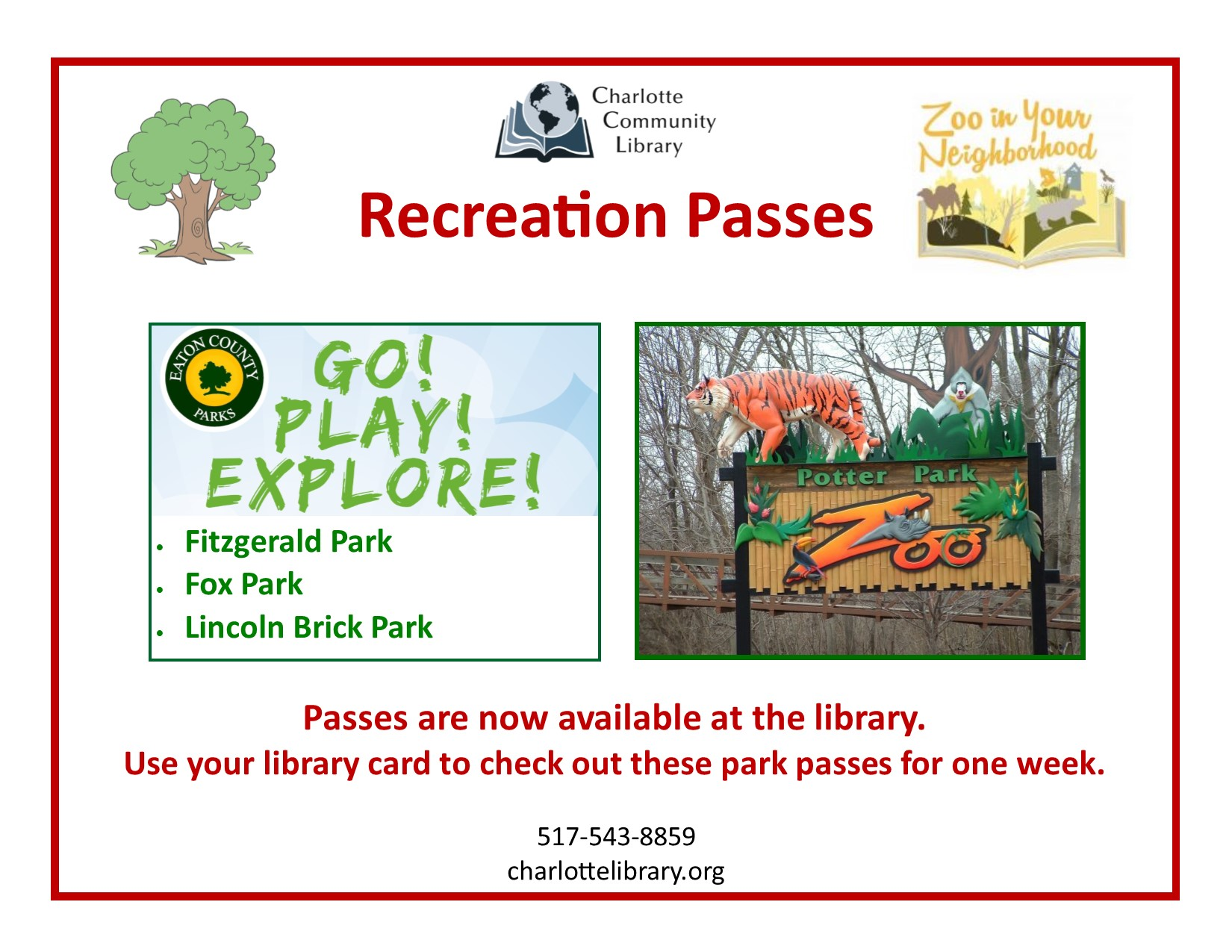 Park passes available at circulation desk