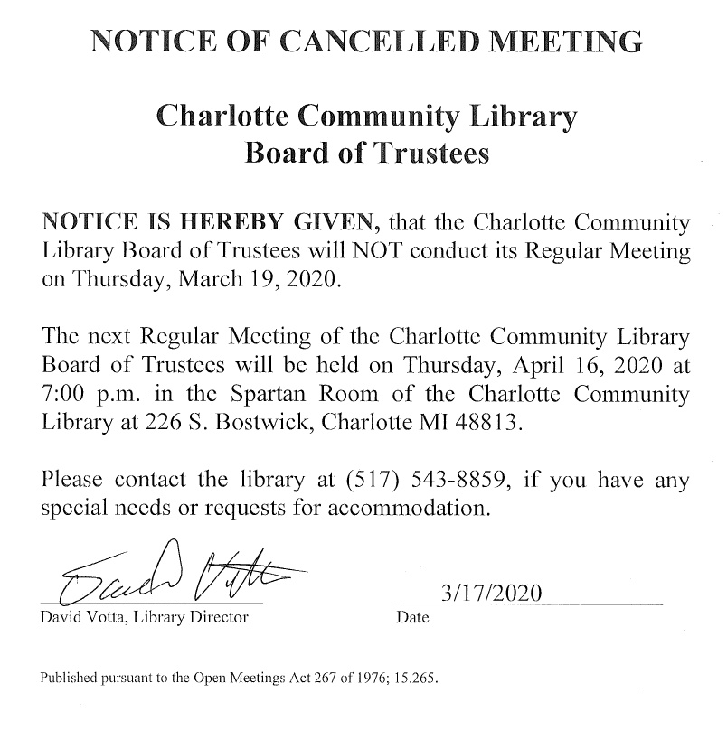 Cancelled - Library Board Meeting
