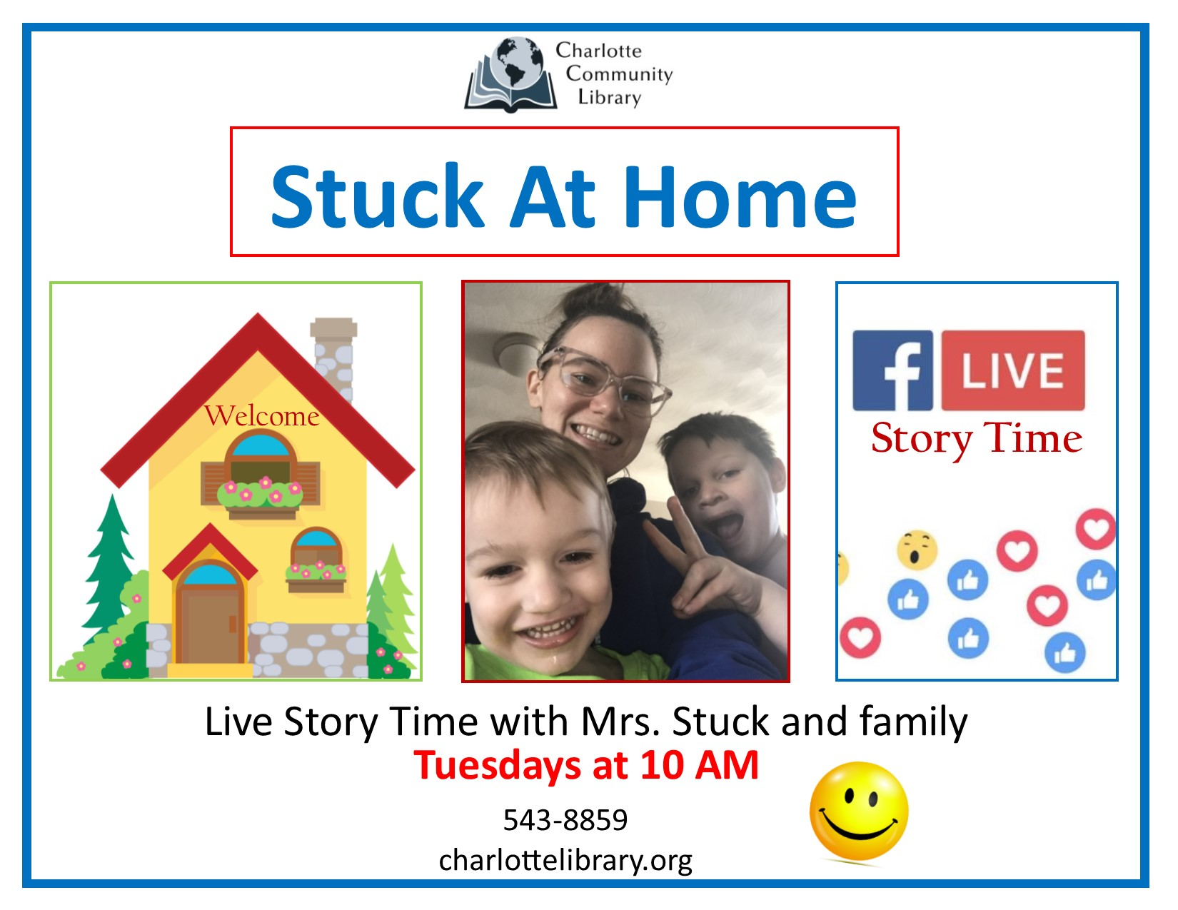 Stuck at home story time Facebook live event