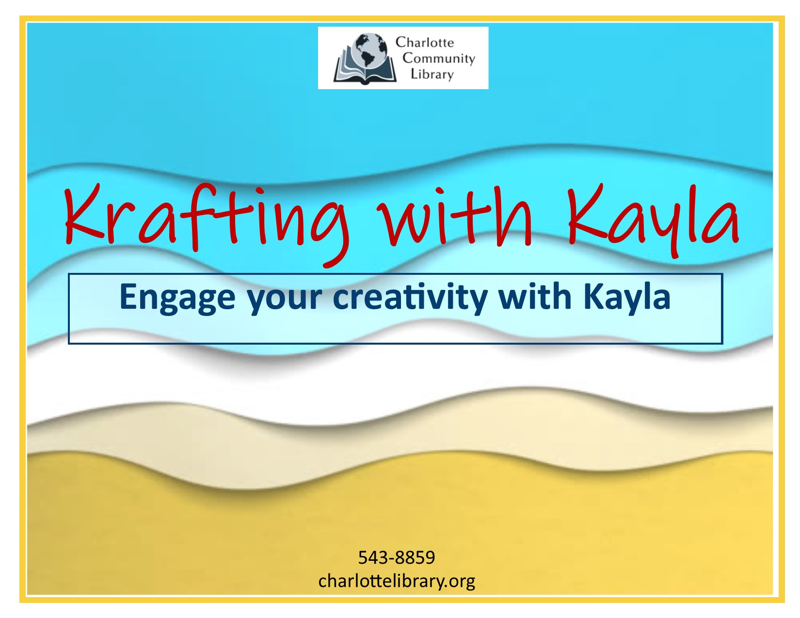 Facebook event Krafting with Kayla Fridays Noon