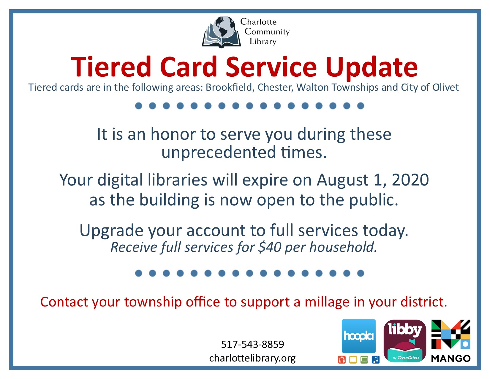 Tiered cards notice