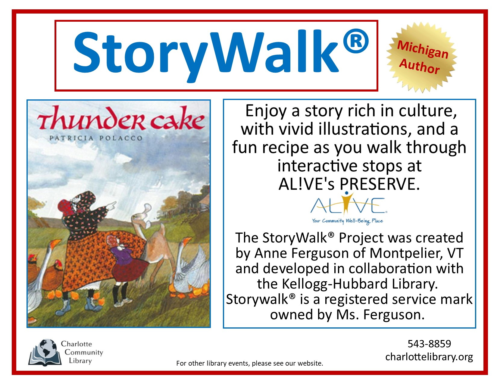 Storywalk now open at AL!VE's Preserve