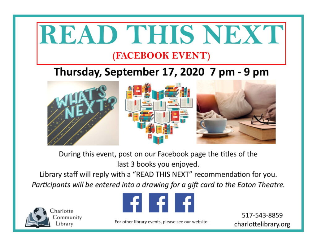 Read This Next - Facebook Event @ Online @CharlotteLibrary