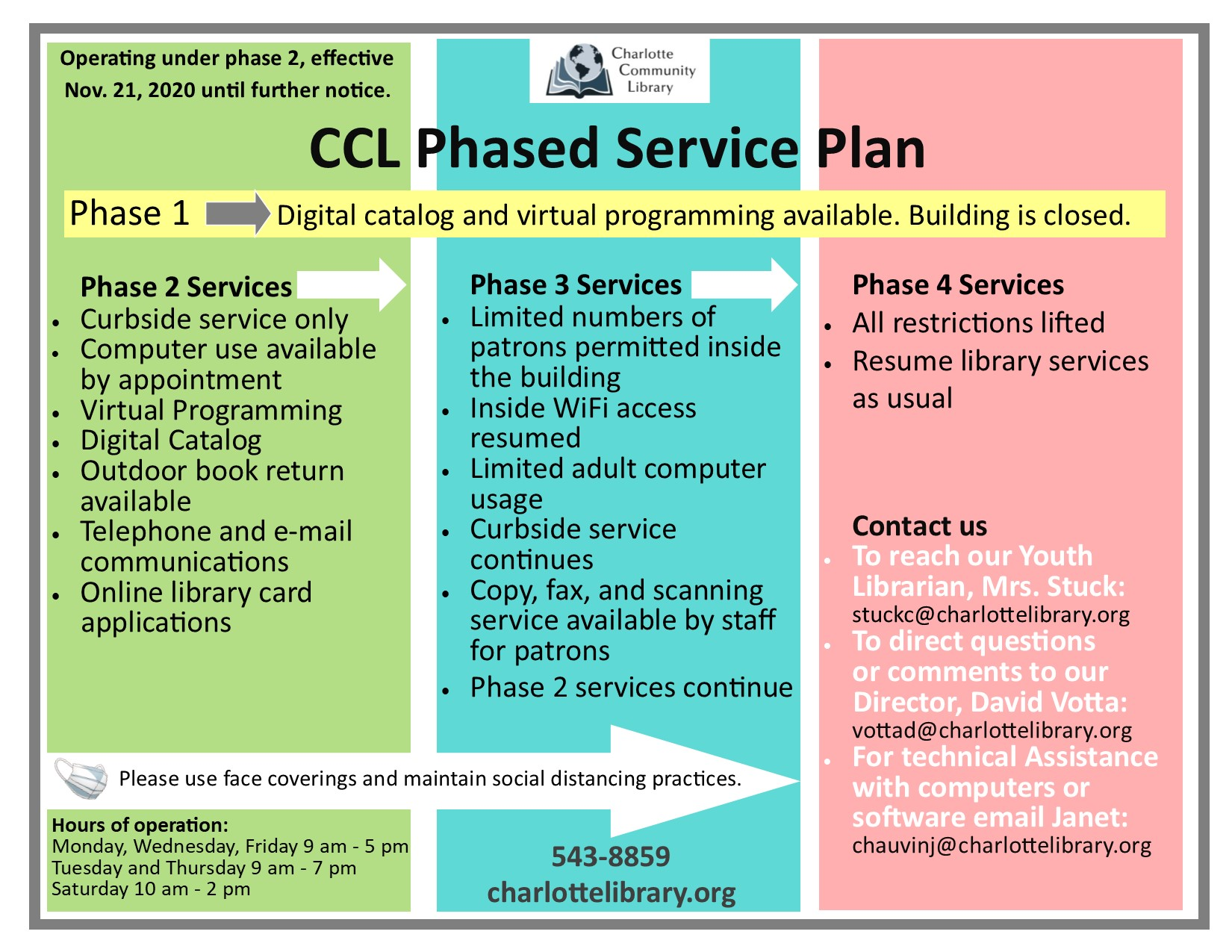 CCL Phased Plan now at Phase 2
